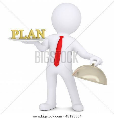 3d man holding a gold plan on a platter. Isolated render on a white background poster