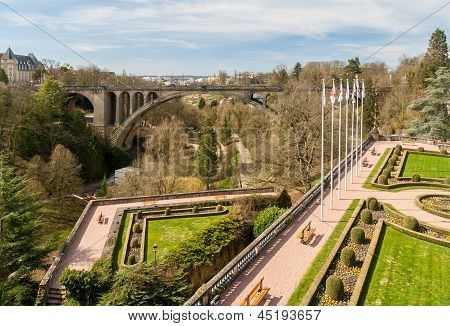 View Of Constitution Square And Adolphe Bridge In Luxembourg City