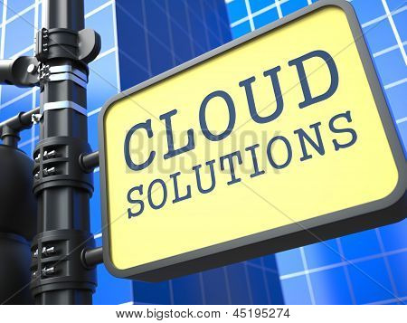 Internet Concept. Cloud Solutions Waymark.