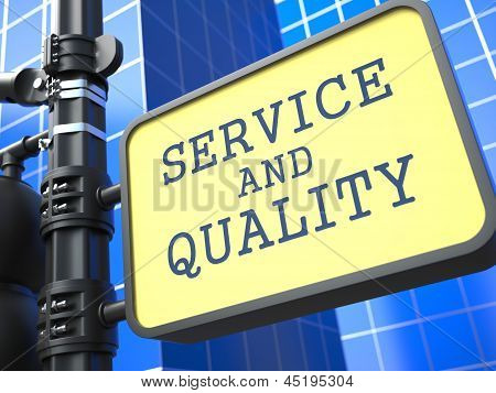 Business Concept. Service and Quality Waymark.