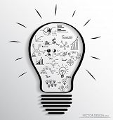 Light bulb with elements of infographics and graph. Vector illustration. poster