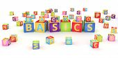 Words back to basics spelled by abc cubes poster