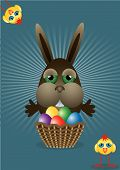 bunny with a basket full of colored eggs and two chicks funny poster