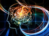 Intelligence series. Background design of human head outlines lights and fractal elements on the subject of intelligence knowledge education science and technology poster