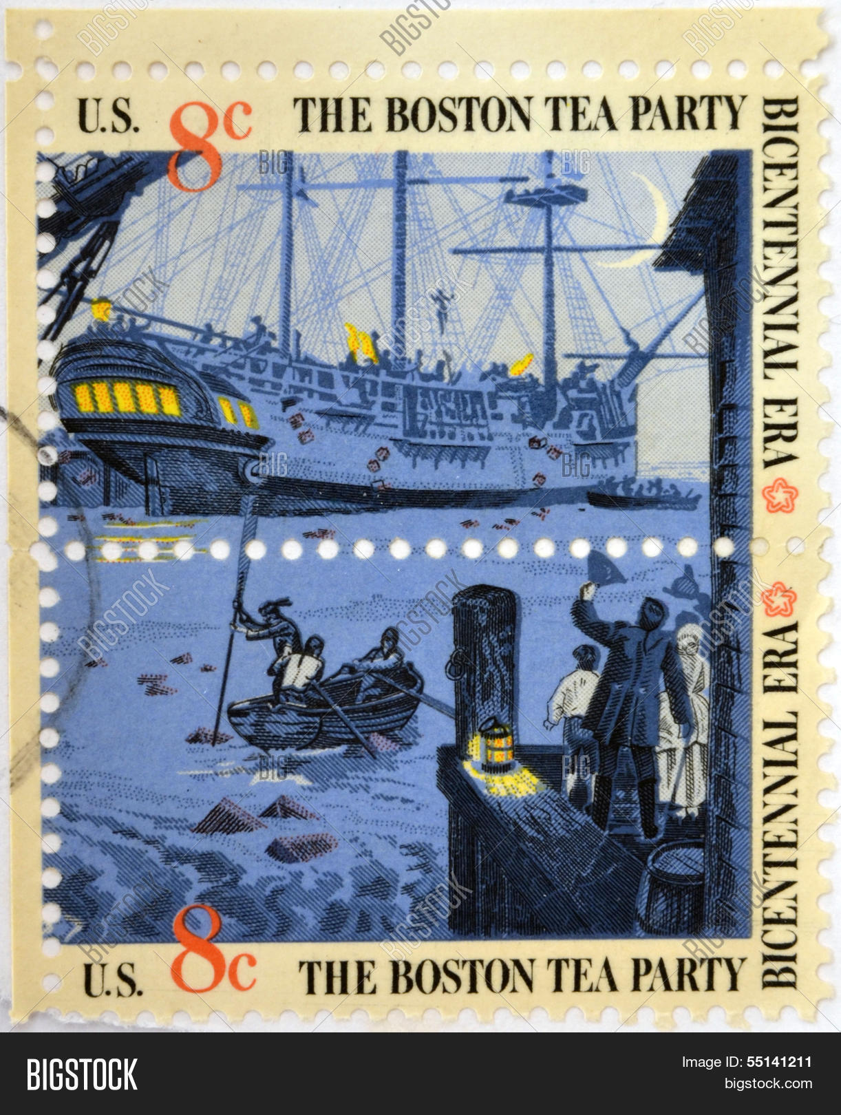 Stamp To Commemorate The Boston Tea Party As Part Of Bicentennial Celebration In USA