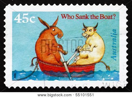 Postage Stamp Australia 1996 Cow And Donkey