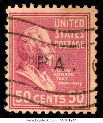 UNITED STATES - CIRCA 1938 : A stamp printed in United States. Displays William Howard Taft. United States - circa 1938