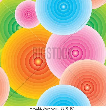 Endless abstract colorful background in circles