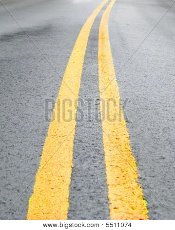 Double Yellow Line On Roadway