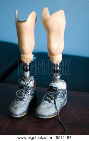 NABATIYA Lebanon - Artificial legs await fitting for a young boy at the Philanthropic Association for Disabled Care (PADC). poster