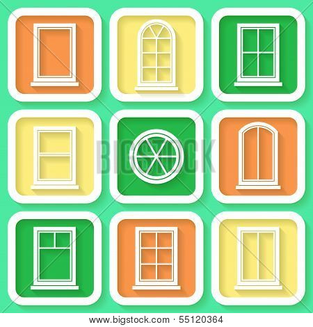 Set Of 9 Retro Icons Of Different Types Of Windows. Eps10