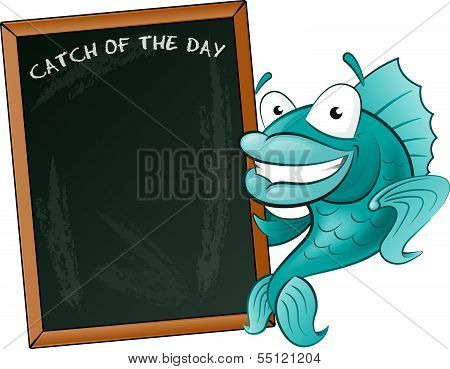 Happy Fish With His Big Blackboard Sign.