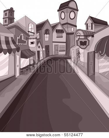 Illustration of an Empty Street Surrounded by Buildings