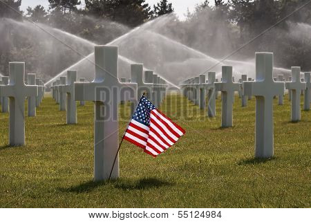 American flag on omaha beach cemetery