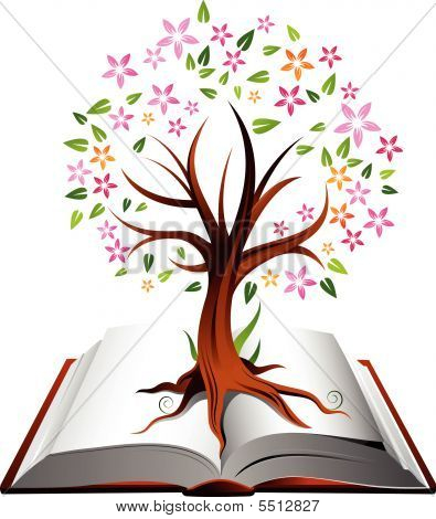 Tree and Book Illustration