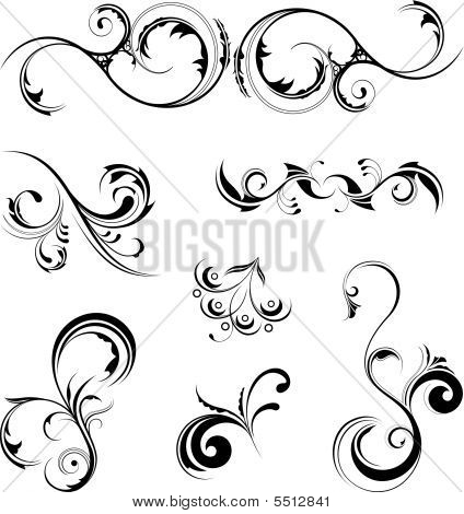A set of various detailed floral design elements poster