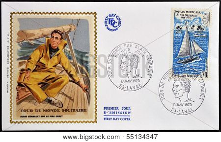 stamp dedicated to Alain Gerbault who made a circumnavigation of the world as a single-handed sailor