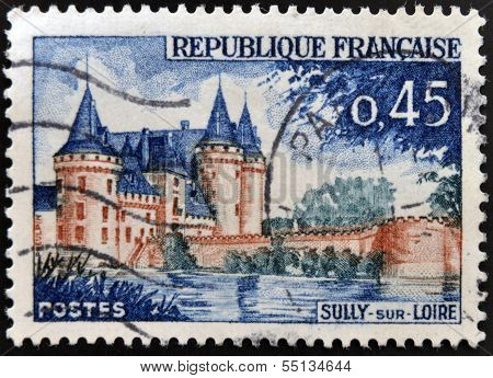 stamp printed in France shows image of Sully-sur-Loire castle the historic seat of the ducs de Sully