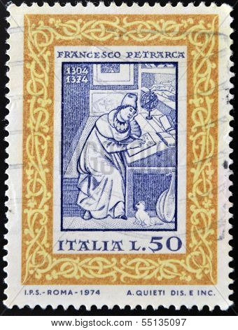 A stamp printed in Italy shows Francesco Petrarca