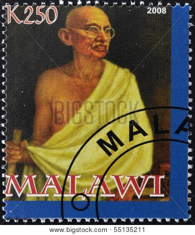 A stamp printed in Malawi shows Mohandas Karamchand Gandhi