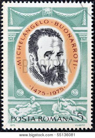 A stamp printed in Romania shows Michelangelo Buonarroti by Jacopino del Conte
