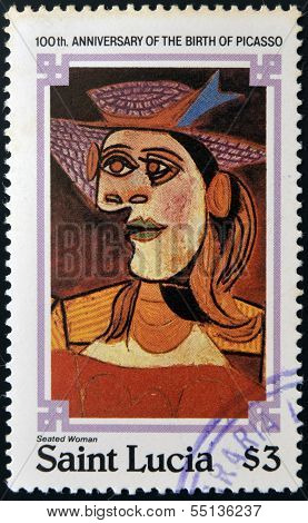 stamp printed in Saint Lucia shows seated woman by Pablo Ruiz Picasso