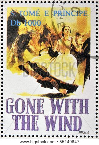 A stamp printed in Sao Tome shows movie poster Gone with the wind
