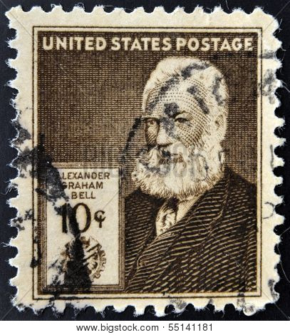 UNITED STATES OF AMERICA - CIRCA 1940: A stamp printed in USA shows Alexander Graham Bell