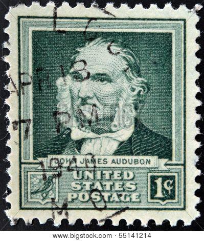 UNITED STATS OF AMERICA - CIRCA 1940: A stamp printed in USA shows John James Audubon circa 1940