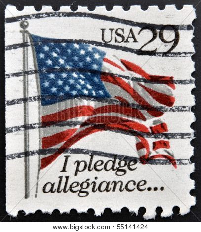 stamp printed in the USA shows USA Flag I Pledge of Allegiance