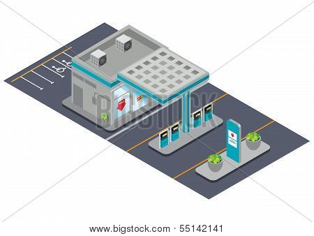 isometric gas station