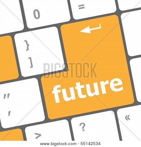 future time concept with key on computer keyboard poster
