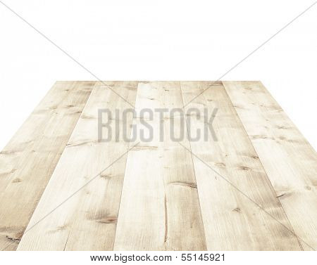 Wooden table isolated on white