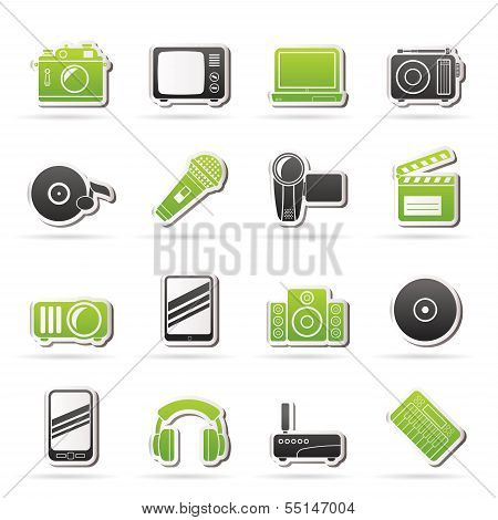 Media and technology icons - vector icon set poster