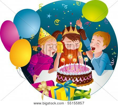 Child's birthday party - kids having fun, blowing candles on cake. Balloons, whistles, presents. Vector illustration