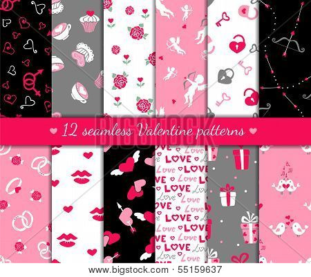 Twelve Valentines Seamless Patterns