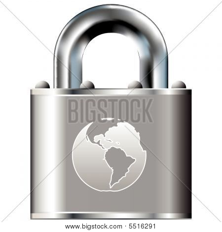 Planet Earth Icon On Vector Lock