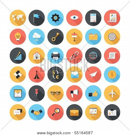 Vector collection of modern simple flat and trendy business and office icons with long shadow. Design elements for mobile and web applications. poster