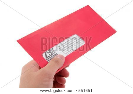 Hand Hold Red Advertising Envelope