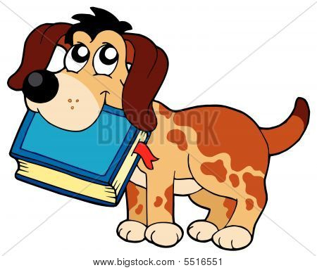 Dog Holding Book