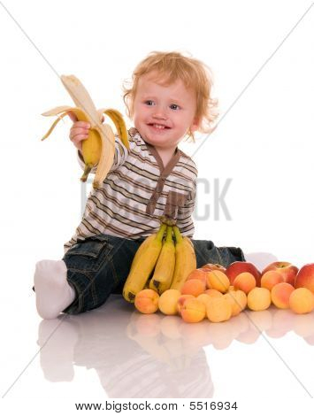 Baby With Fruits.