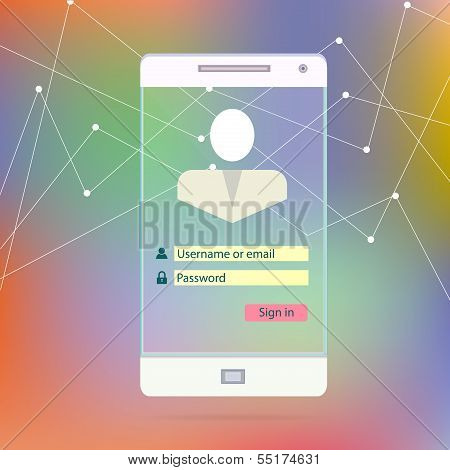 Transparent Mobile Smart Phone Screen with application interface secutity page new Digital Technolog