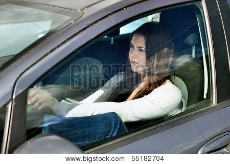 Girl In Traffic Jam