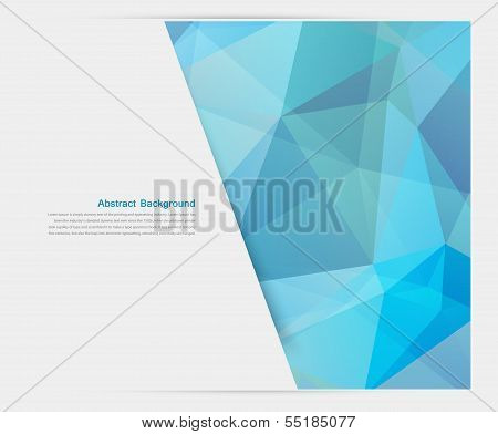 Vector abstract background. Polygon blue and card