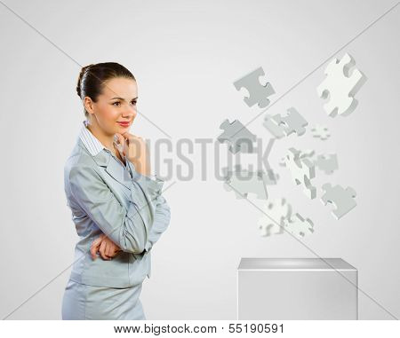 Image of concentrated businesswoman looking for answer poster