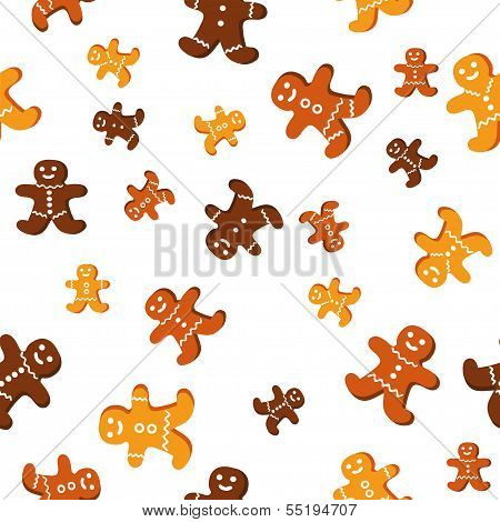 Sesmless vector pattern with cute gingerbread cookies, to create for you Cristmas cards, backgrounds poster