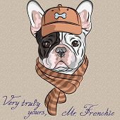 hipster dog French Bulldog breed in a brown cap and scarf poster