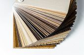 Thin wooden samples sheaf. Interior design industry. poster