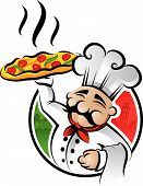 Illustration of an italian cartoon chef with a freshly baked pizza poster