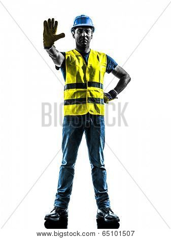 one  construction worker stop gesture with safety vest silhouette isolated in white background